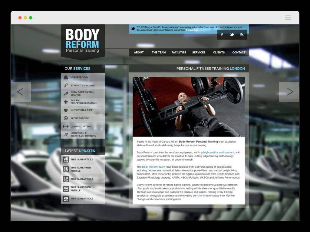 Body Reform gym website home page design